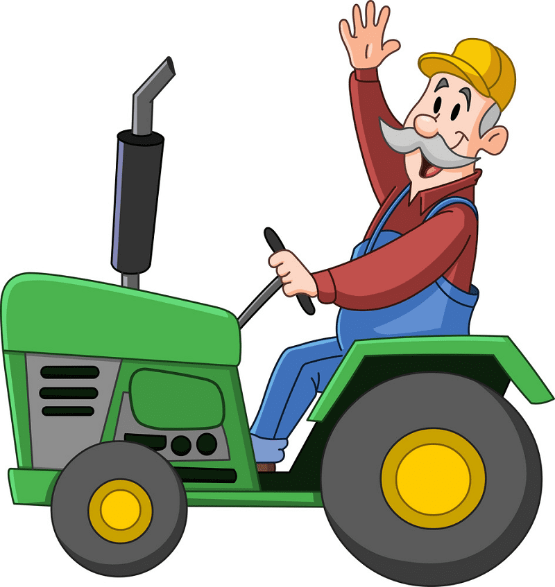 Farmer on Tractor clipart free