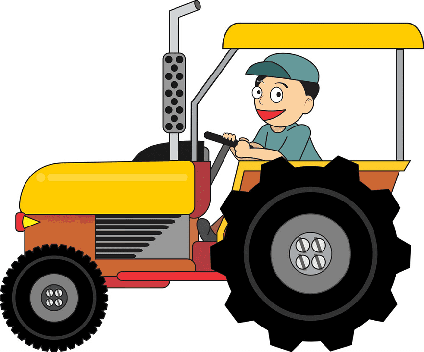 Farmer on Tractor clipart png