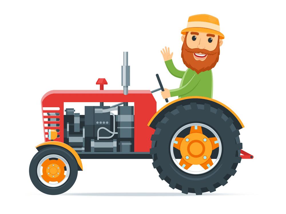 Farmer on Tractor clipart
