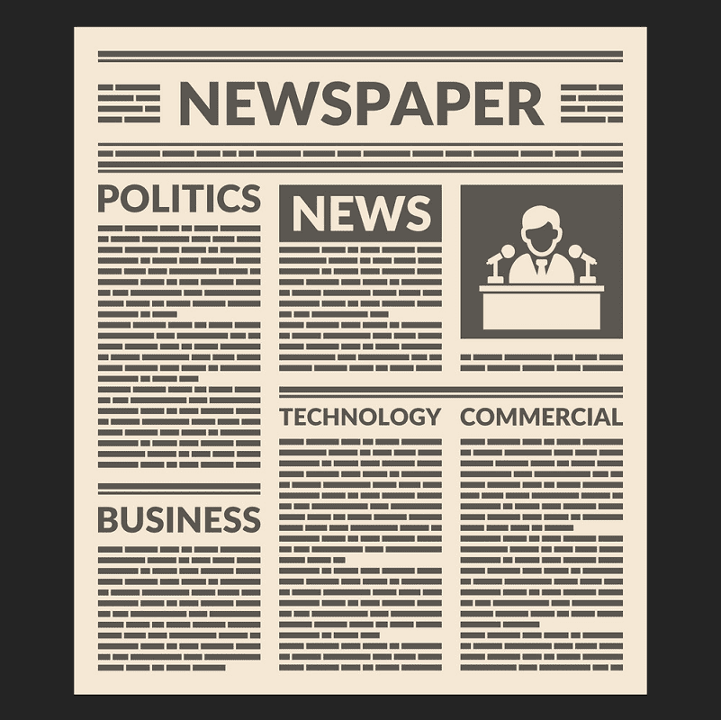 Newspaper clipart for kids