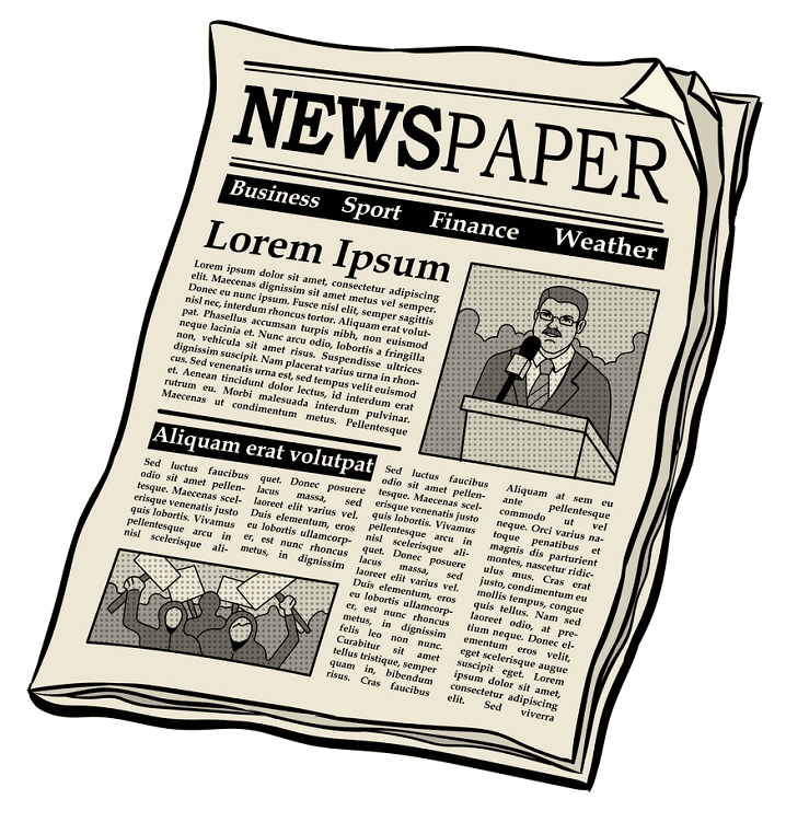 Newspaper clipart png for kid