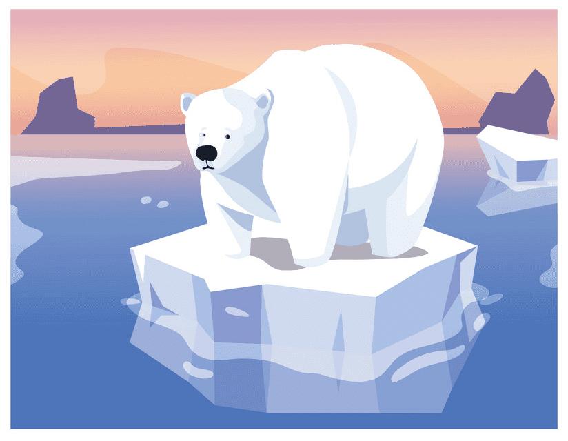Polar Bear on Ice clipart images