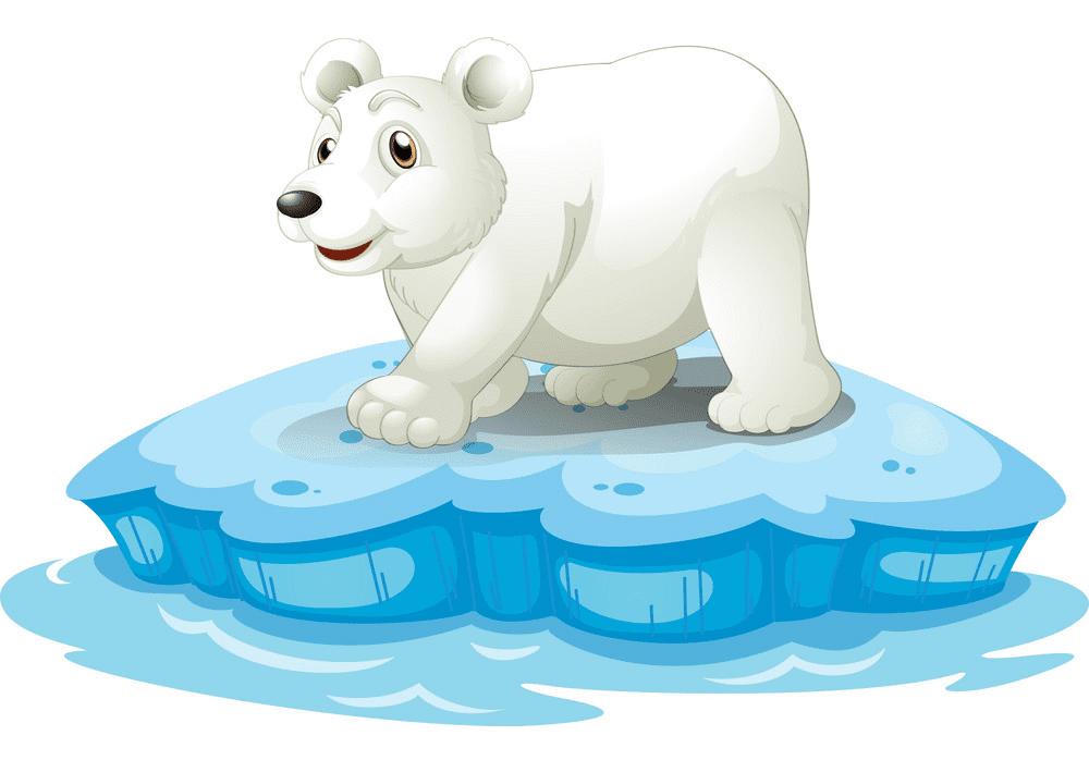 Polar Bear on Ice clipart