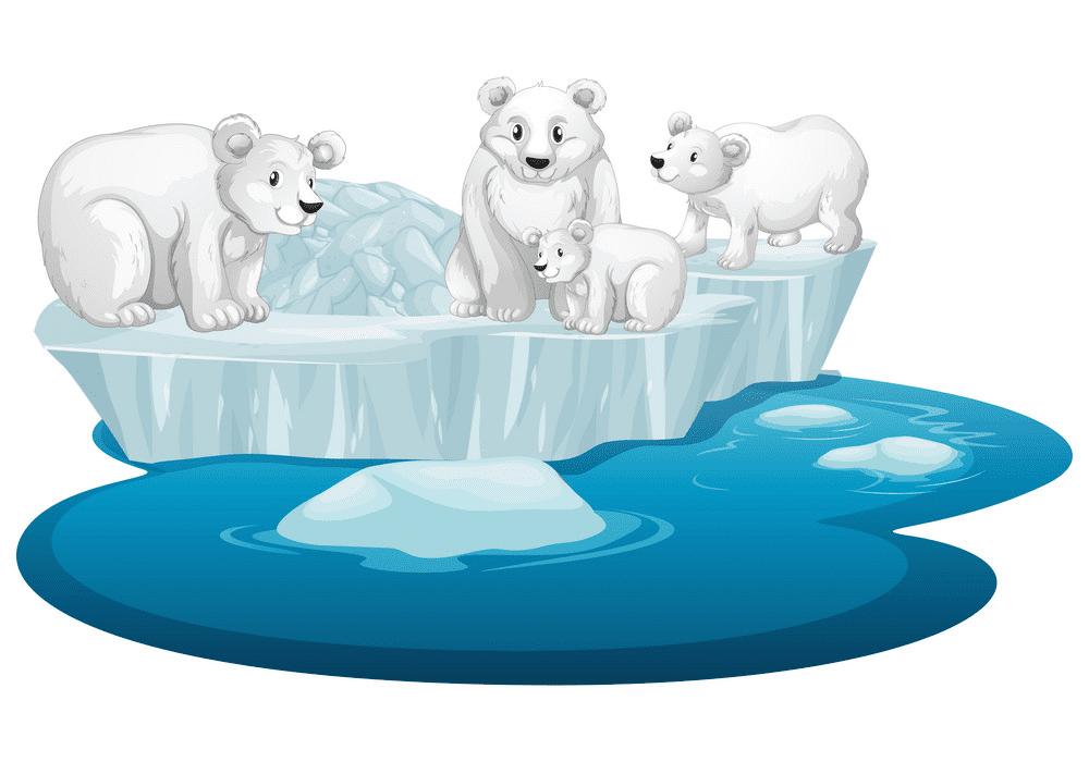 Polar Bears on Ice clipart