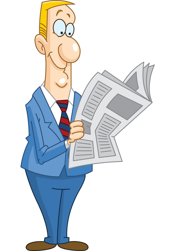 Reading Newspaper clipart for kid