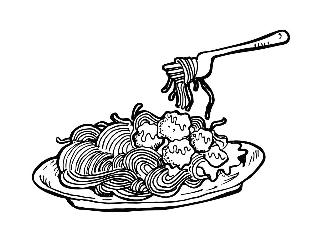 Spaghetti Clipart Black and White for kid