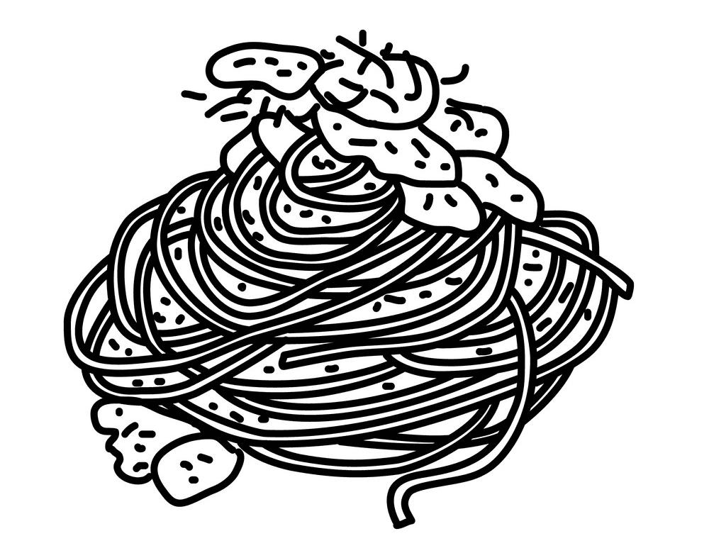 Spaghetti Clipart Black and White for kids
