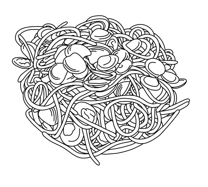 Spaghetti Clipart Black and White image