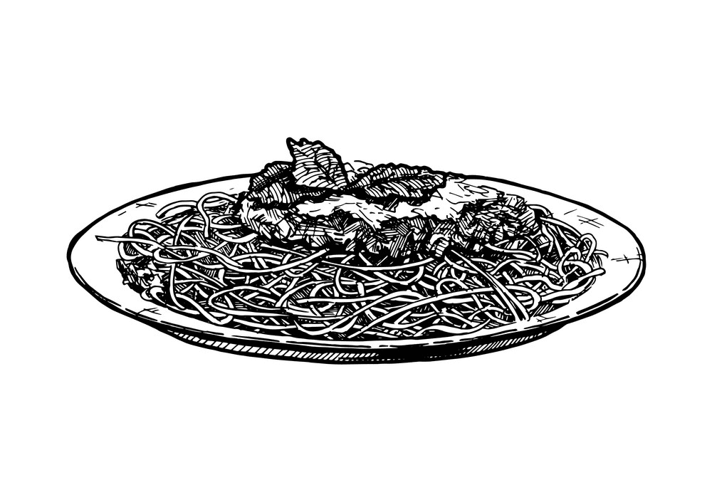 Spaghetti Clipart Black and White png