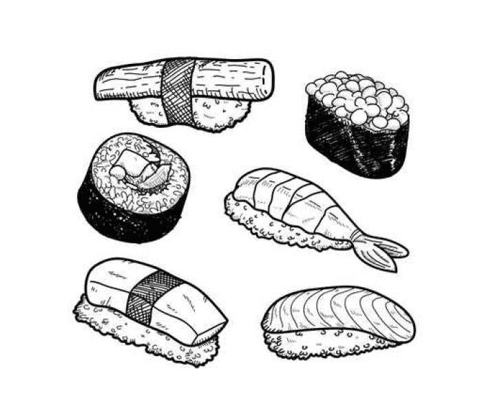 Sushi Clipart Black and White free image