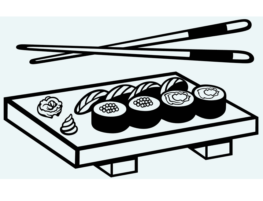Sushi Clipart Black and White free