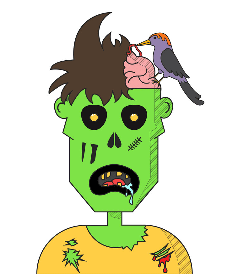 Zombie Head clipart for kid