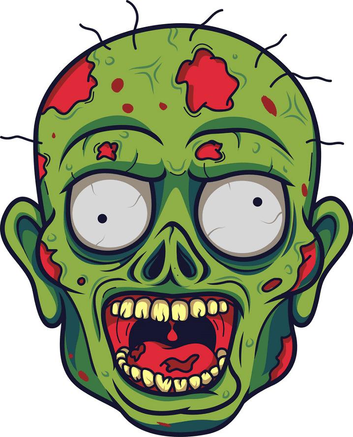 Zombie Head clipart free