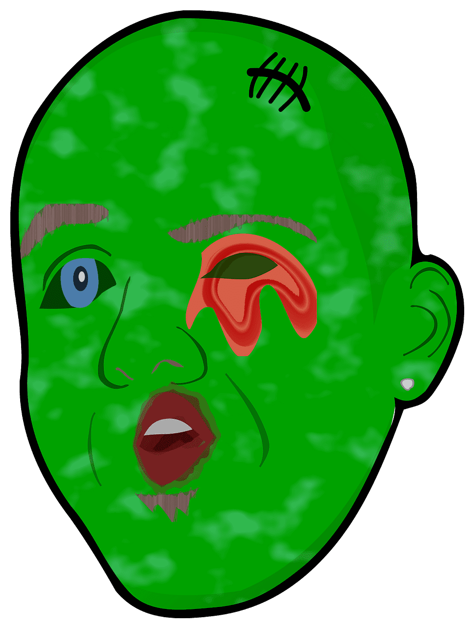 Zombie Head clipart transparent