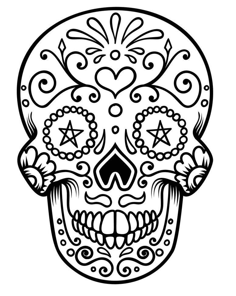 Sugar Skull Clipart Black and White 1