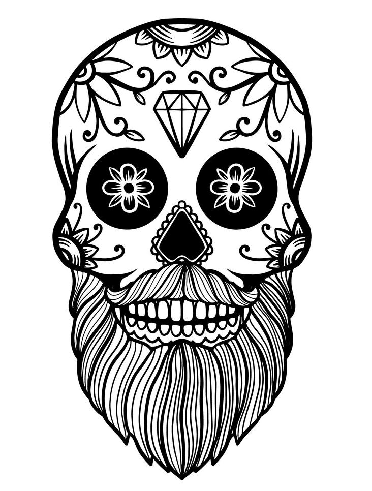 Sugar Skull Clipart Black and White 5