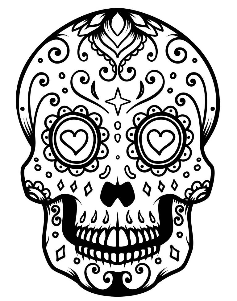 Sugar Skull Clipart Black and White 6