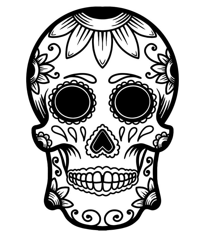 Sugar Skull Clipart Black and White 7