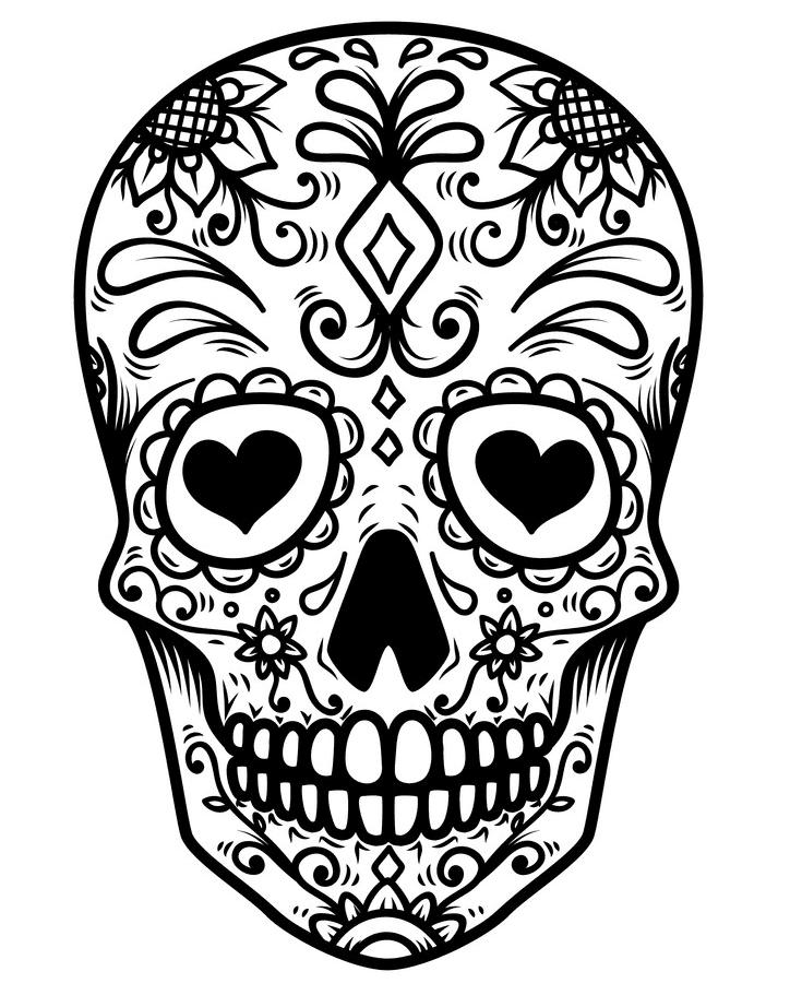 Sugar Skull Clipart Black and White 8