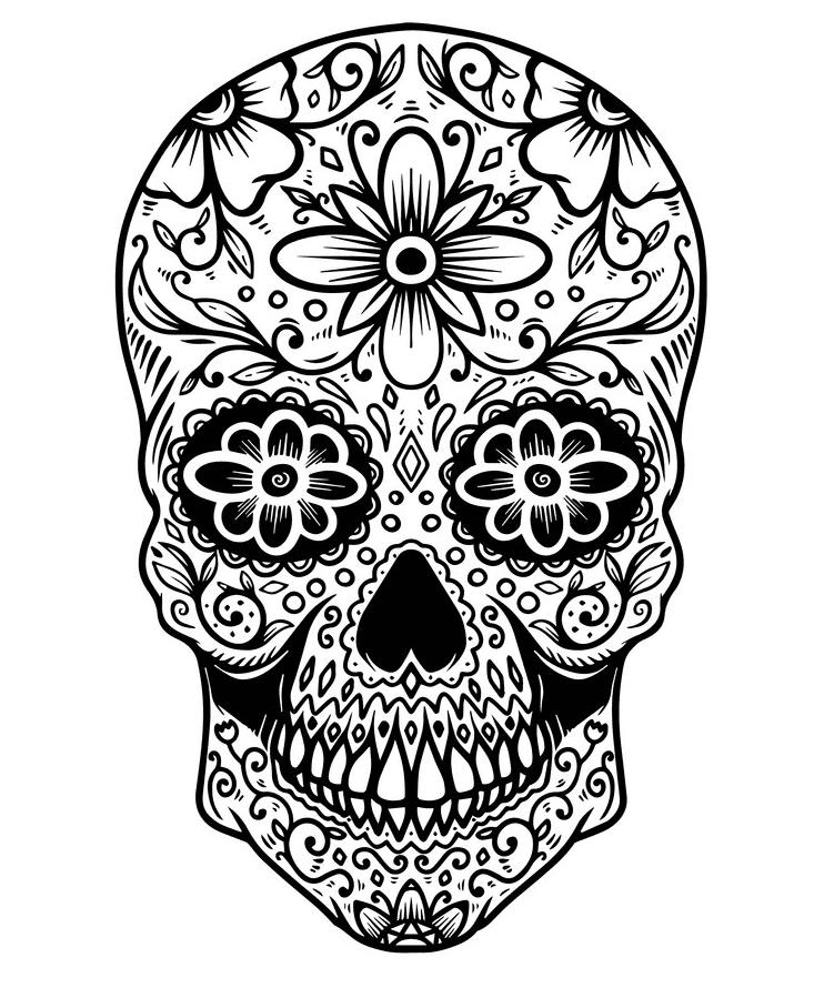 Sugar Skull Clipart Black and White 9