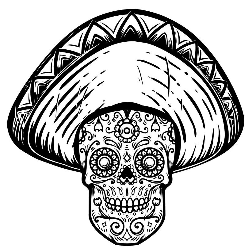 Sugar Skull Clipart Black and White download