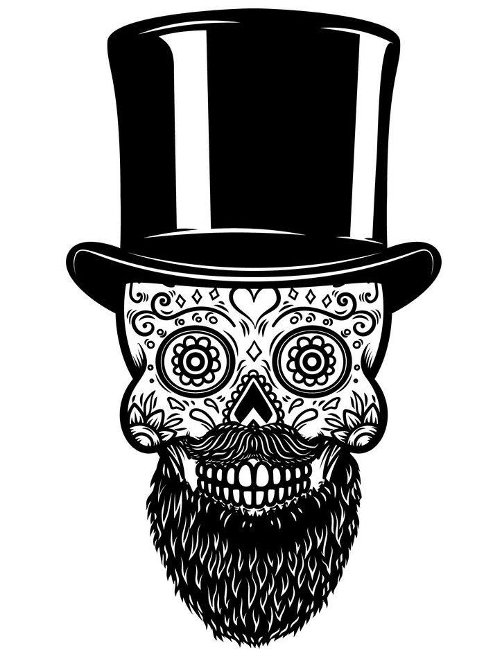 Sugar Skull Clipart Black and White for free