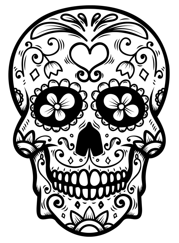 Sugar Skull Clipart Black and White for kid