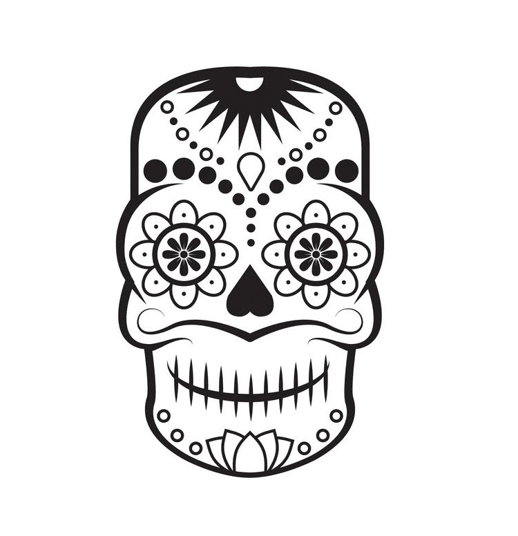 Sugar Skull Clipart Black and White for kids