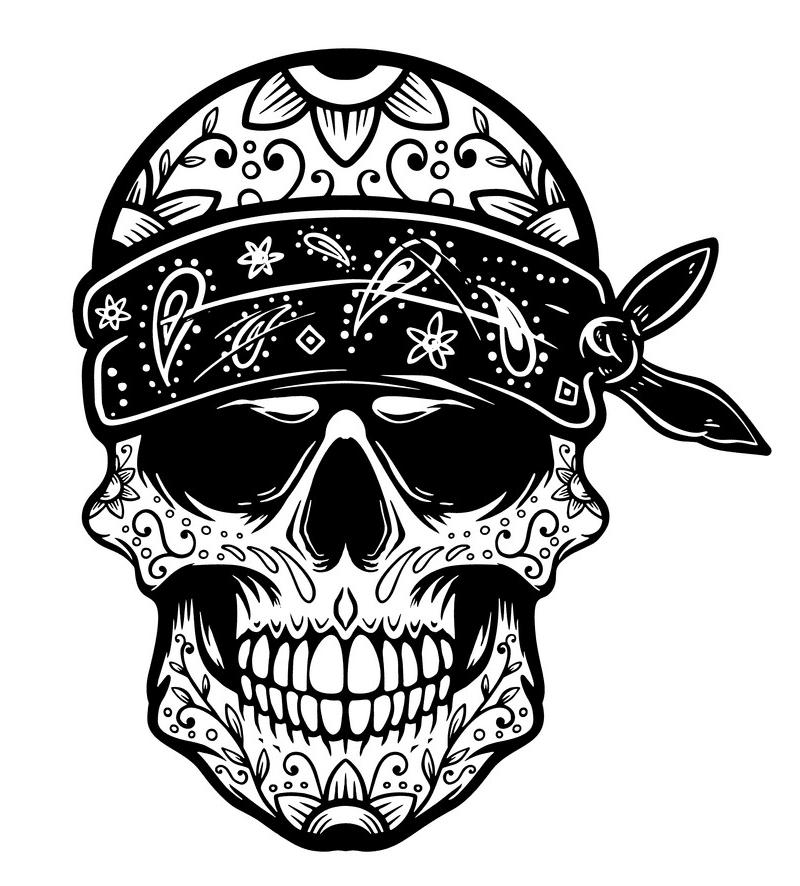 Sugar Skull Clipart Black and White free