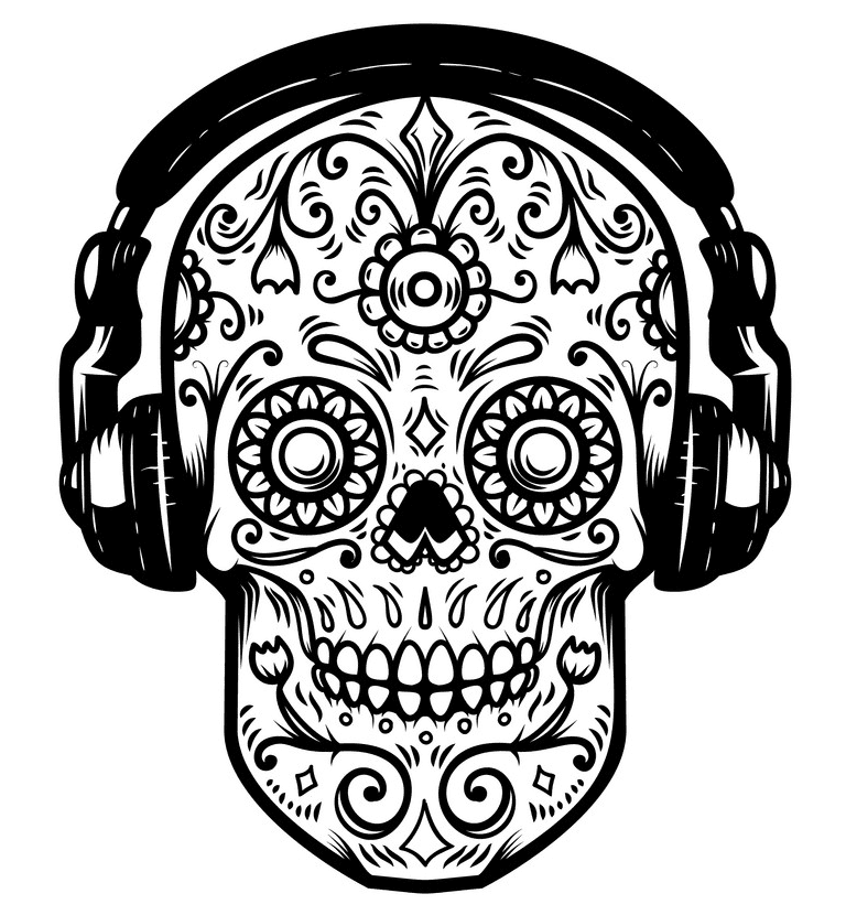 Sugar Skull Clipart Black and White image