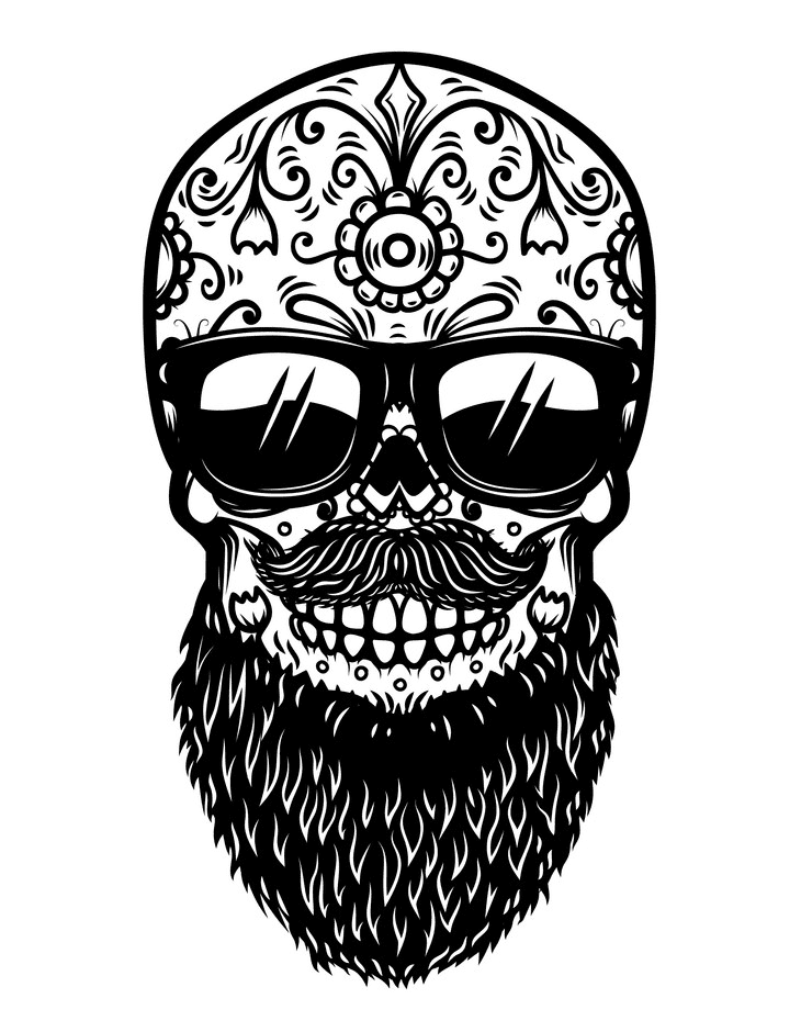 Sugar Skull Clipart Black and White images