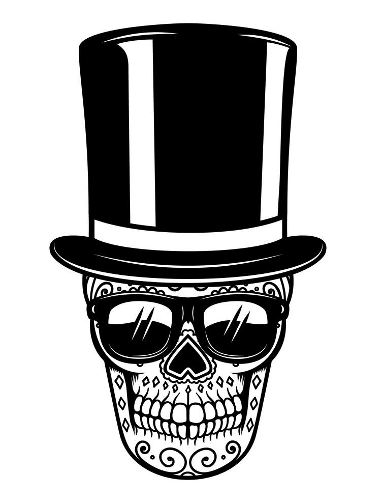 Sugar Skull Clipart Black and White picture