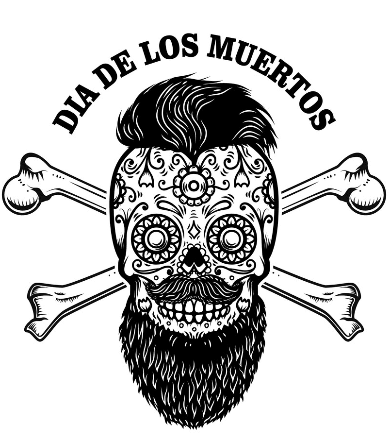 Sugar Skull Clipart Black and White png