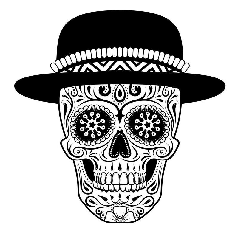 Sugar Skull Clipart Black and White