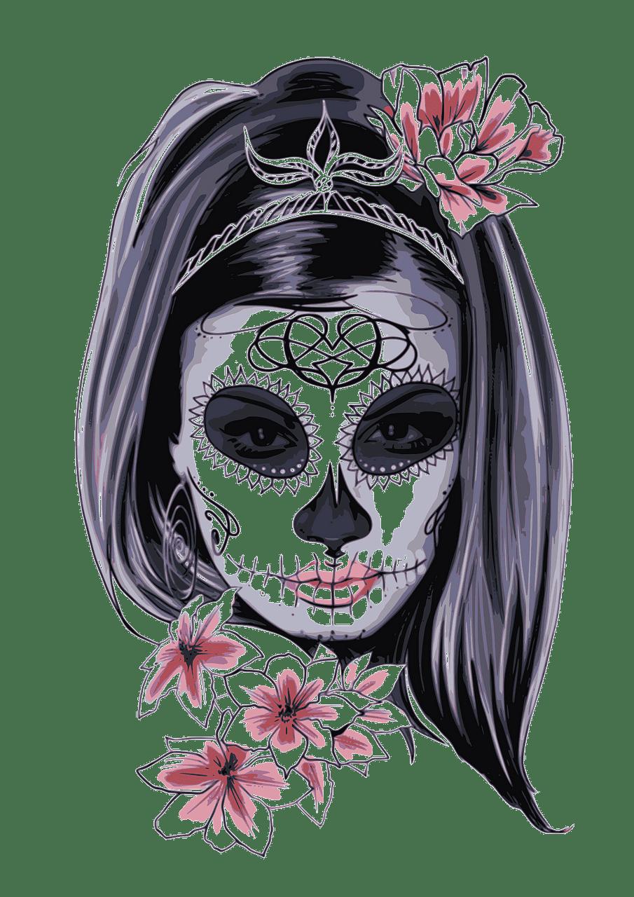 Sugar Skull clipart transparent background 1