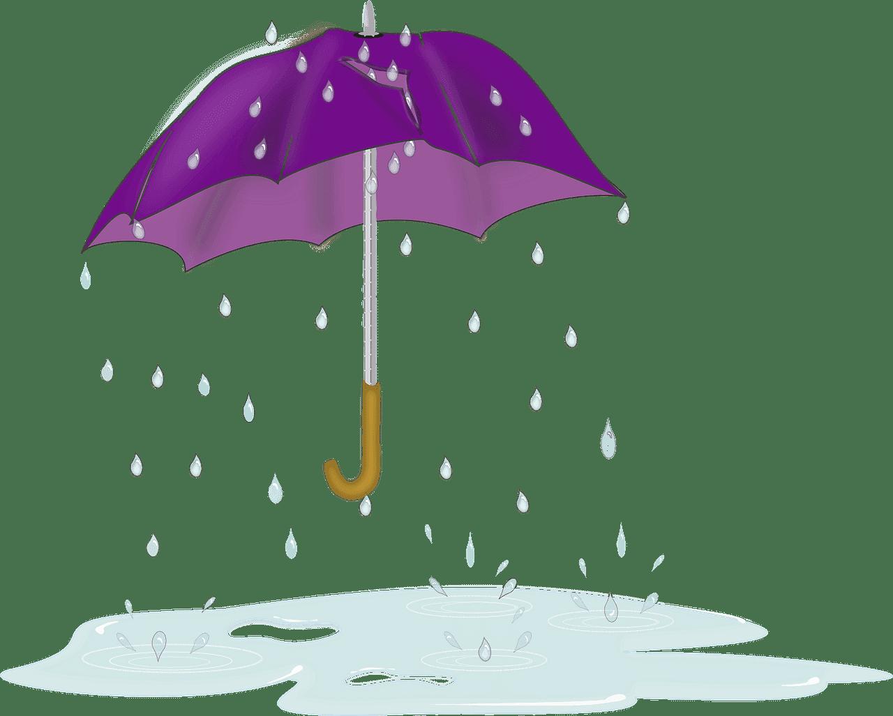 Umbrella in Rain clipart transparent