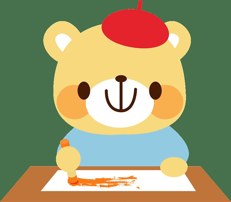 Bear Artist clipart transparent