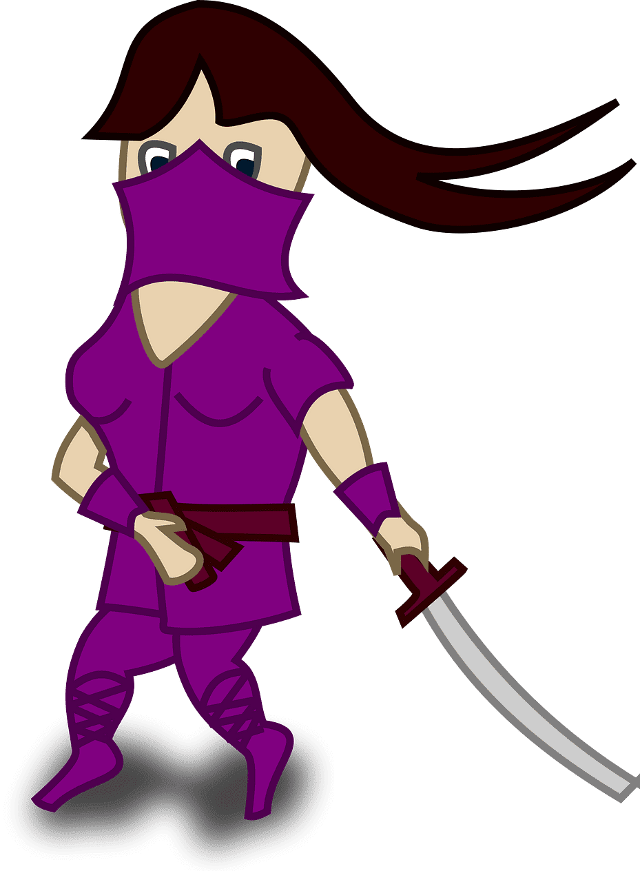 Female Ninja clipart transparent