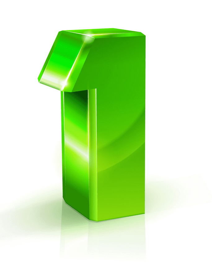 Green Number 1 clipart
