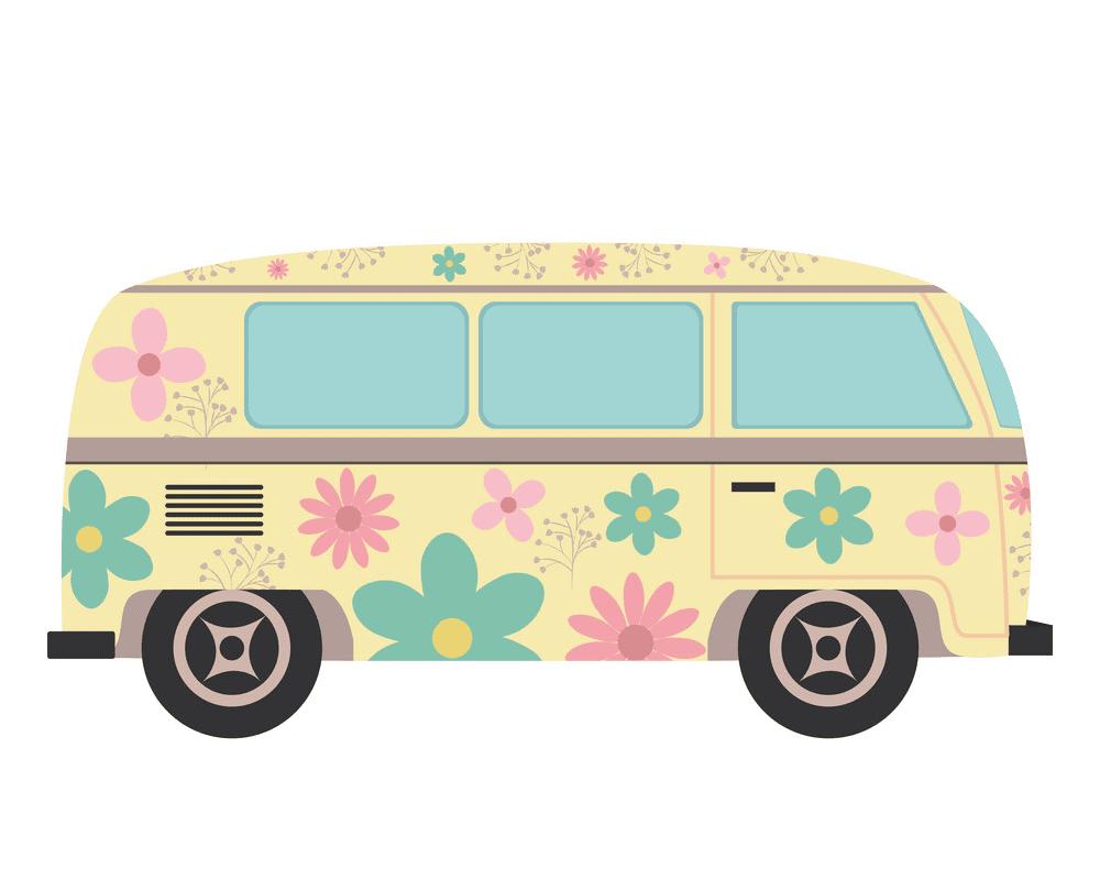 Hippie Van clipart for kid