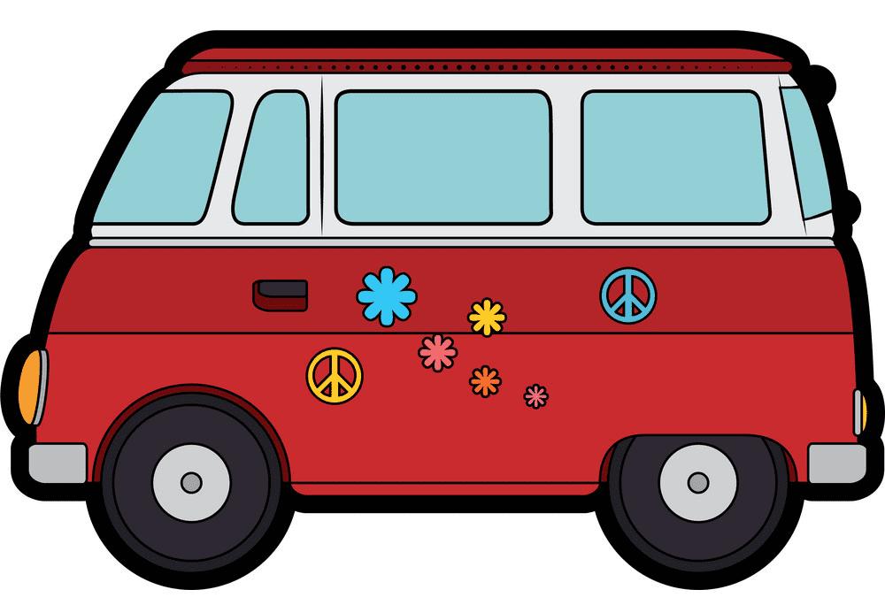 Hippie Van clipart for kids