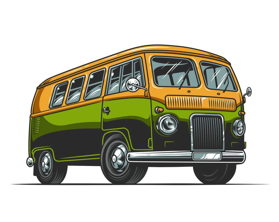 Hippie Van clipart free for kid
