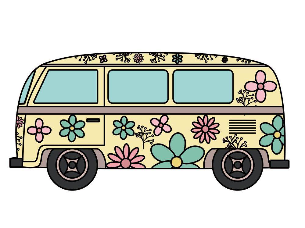 Hippie Van clipart free image
