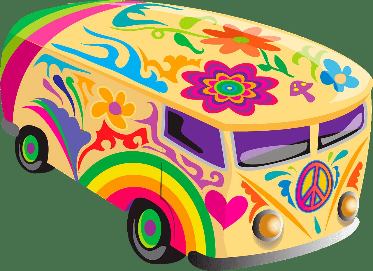 Hippie Van clipart transparent