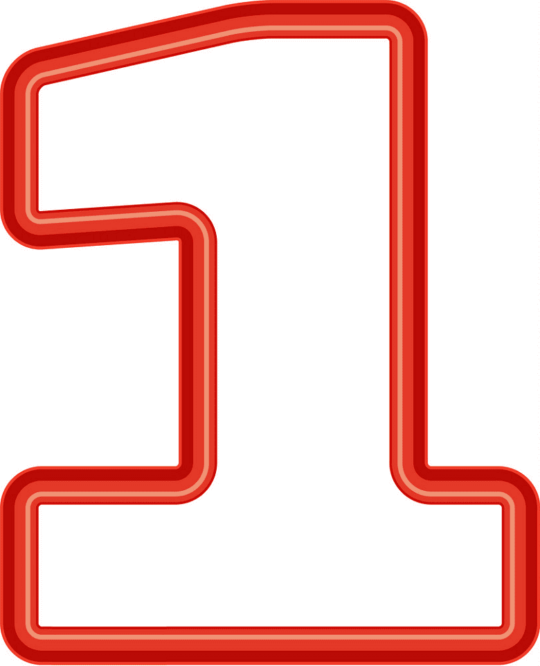 Number 1 clipart png for kids