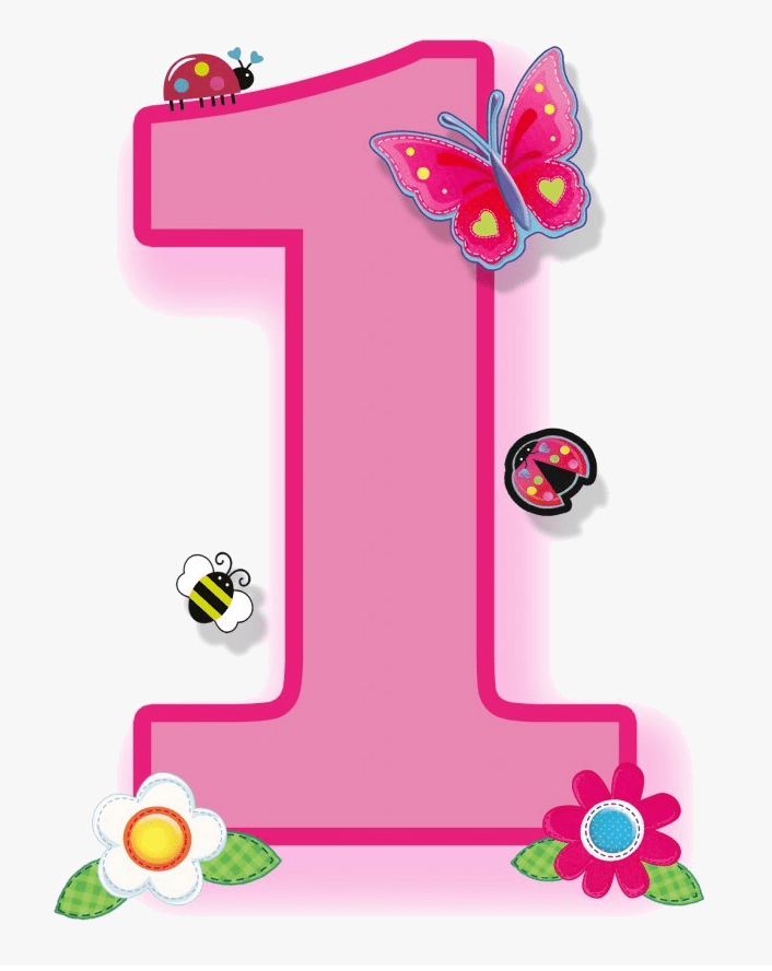 Pink Number 1 clipart download
