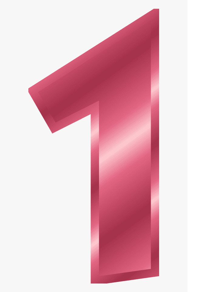 Pink Number 1 clipart free