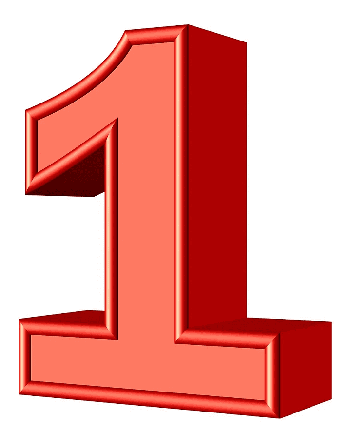 Red Number 1 clipart for kid