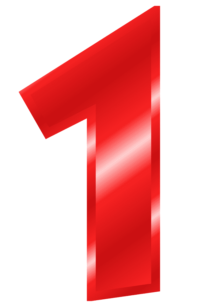Red Number 1 clipart free