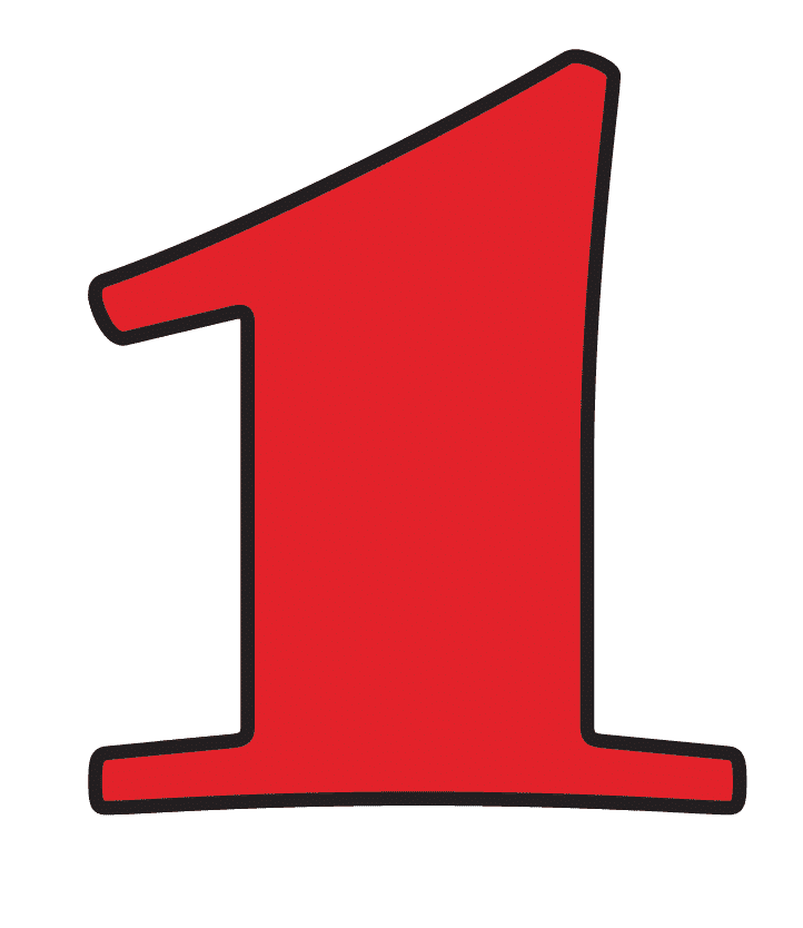 Red Number 1 clipart png free